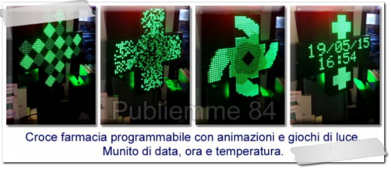 Croce farmacia a led con data, ora e temperatura
